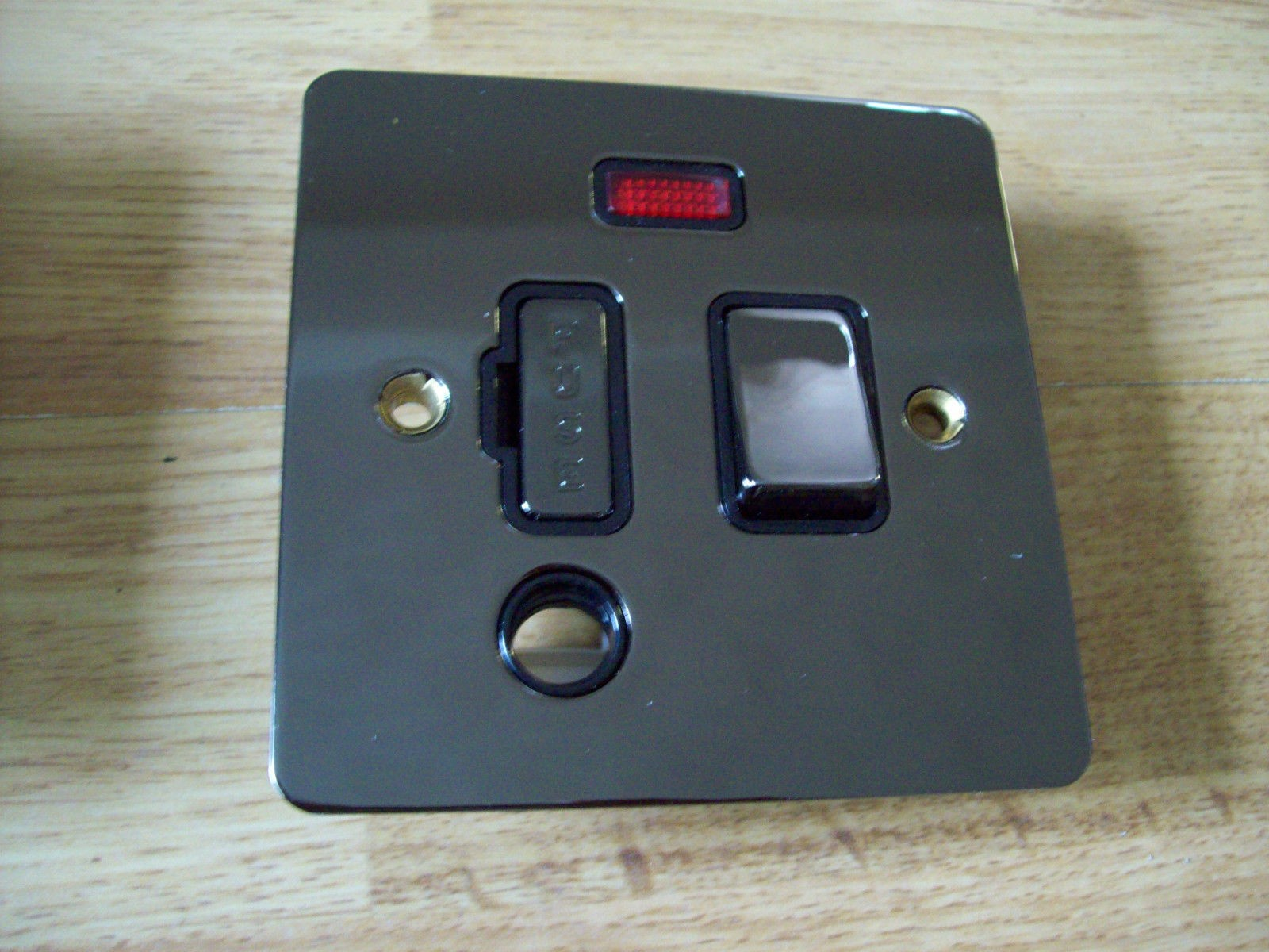 13 Amp Neon Fused Spur Outlet In Polished Black Nickel Finish