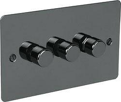 Black Nickel Switch Plate 400w 3 Gang 2 Way