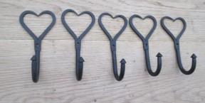 Wrought iron heart coat and utility hooks