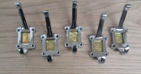 Brass Insert 1-5 Numbered Coat Hooks Chrome