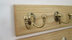 Antique Brass Double Ball End 3 Hook Coat Rail 38cm