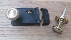 Large Rim Latch Black Antique & Georgian Rim Brass Set