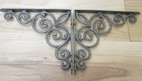 "Pair Of Large 12"" Scroll Shelf Brackets Antique Iron"
