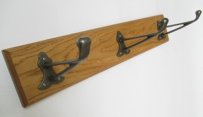 Antique Iron Dutch 3 Hook Coat Rail 58cm