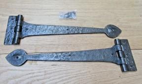 """Pair of 15"""" Spear Head Cast Iron Hinges Antique Iron"""