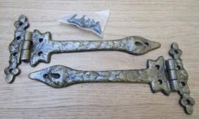 """Pair of 9"""" Leaf hinge Antique Brass"""