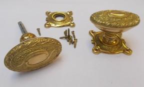 Rim door knob set Oval Art Nouveau Brass