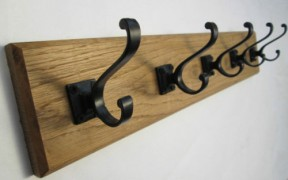 Black Volute Square 7 Hook Coat Rail 78cm