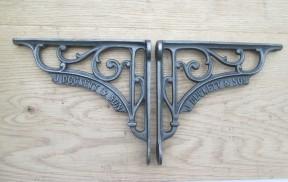 "Pair Of 7"" J Duckett Shelf Brackets Antique Iron"