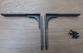 "Pair Of 8"" Sheffield Shelf Brackets Antique Iron"