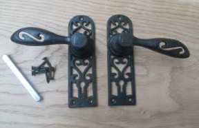 Cottage Door Lock Handle black antique