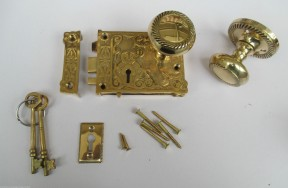 Ornate East Lake Lock & Georgian Rim Brass Set