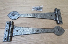 """Pair of 12"""" Spear Head Cast Iron Hinges Antique Iron"""