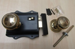 Olde Latch Black & Polished Brass Georgian Rim Set