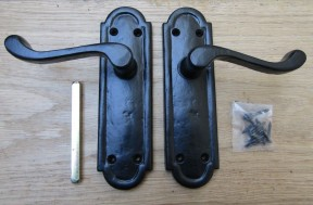 Pair Of Lever Latch Cambridge Handles Black Antique