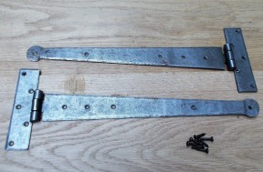 """Pair of 15"""" Penny End Hinges Antique Iron"""