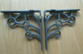 Pair Of Gunshot Shelf Brackets Antique Iron