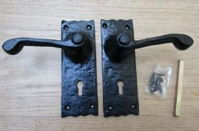 Pair Of Lever Lock Victorian Scroll Handles Black Antique