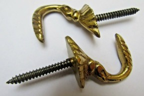 Pair of Solid Brass Small Egyptian Curtain Hooks Polished Brass