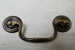 Large Swan Neck Pull Handle Antique Brass