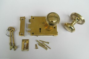 East Lake Plain Lock & Georgian Rim Brass Set