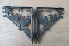 Pair Of Two Bird Shelf Brackets Antique Iron