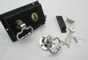Traditional black rim lock