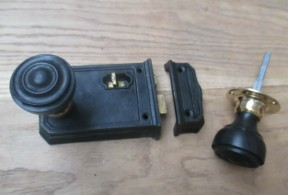 Large Cast Iron Rim Latch Black &  Bun Rimmed Ebony + Brass Set