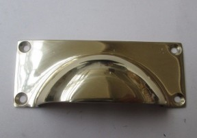 Small Rectangular Cup Handle Polished Brass
