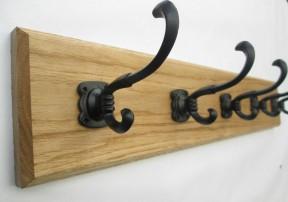 Black Runswick 3 Hook Coat Rail 38cm