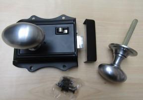 Olde Latch Black & Oval Rim Satin Chrome Set