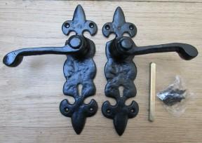 Pair Of Fleur De Lys Lever Lock Handles Black Antique