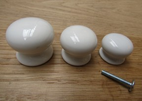 Old English White Plain Cabinet Knob 38mm