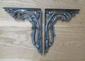"Pair Of 12"" Floral Shelf Brackets Antique Iron"