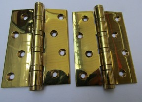 "Pair of 4"" Polished Brass Door Butt Hinges"