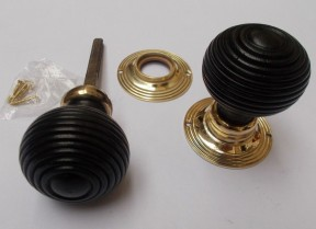 Mortice Door knob Brass + Black Wooden beehive
