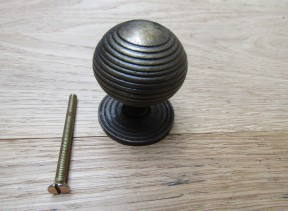 Cast Iron Reeded Cabinet Knob Antique Brass