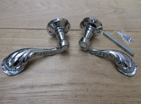 Pair Of Fancy Ornate Lever On Rose Door Handles Polished Chrome