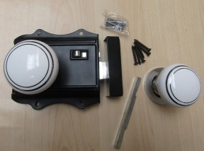 Olde Latch Black + Chrome & White Ceramic Chrome Rimmed Set