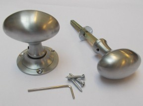 Rim door knob set Oval Satin Chrome