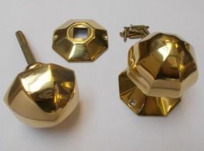 Mortice Door knob Polished Brass 55mm Octagonal