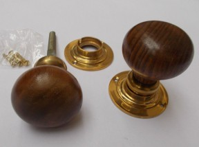 Mortice Door knob Teak + Brass Plain Bun