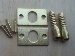 Pair Of Security Hinge Dog Bolts Polished Brass