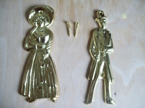 brass plated Victorian style toilet sign