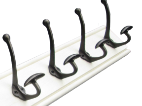 White pine wood coat rack with four cast iron hooks