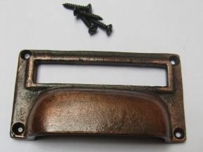 "4"" Large Card Holder Cup Handle antique copper"