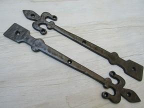 """Pair of Hinge fronts Antique Iron 12"""" Fleur de lys"""