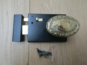 """4"""" Rim Latch Black & Art Nouveau Oval Brass Set"""