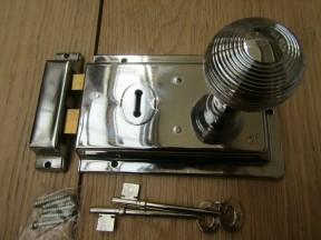 "6"" Rim Lock Polished Chrome & Reeded Rim Polished Chrome Set"