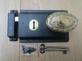 "6"" Rim Lock Black & Art Nouveau Brass Set"